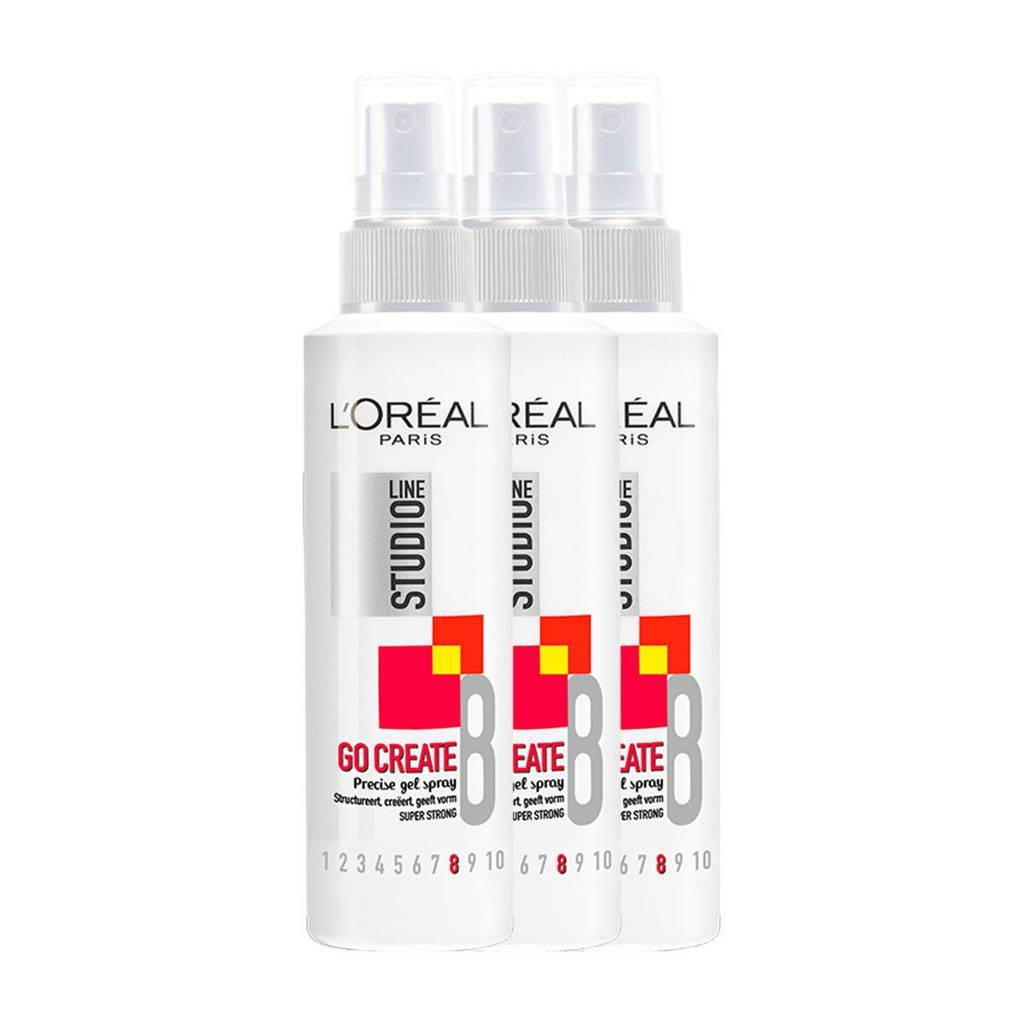 L'Oréal Paris Studio Line gelspray - 3 stuks