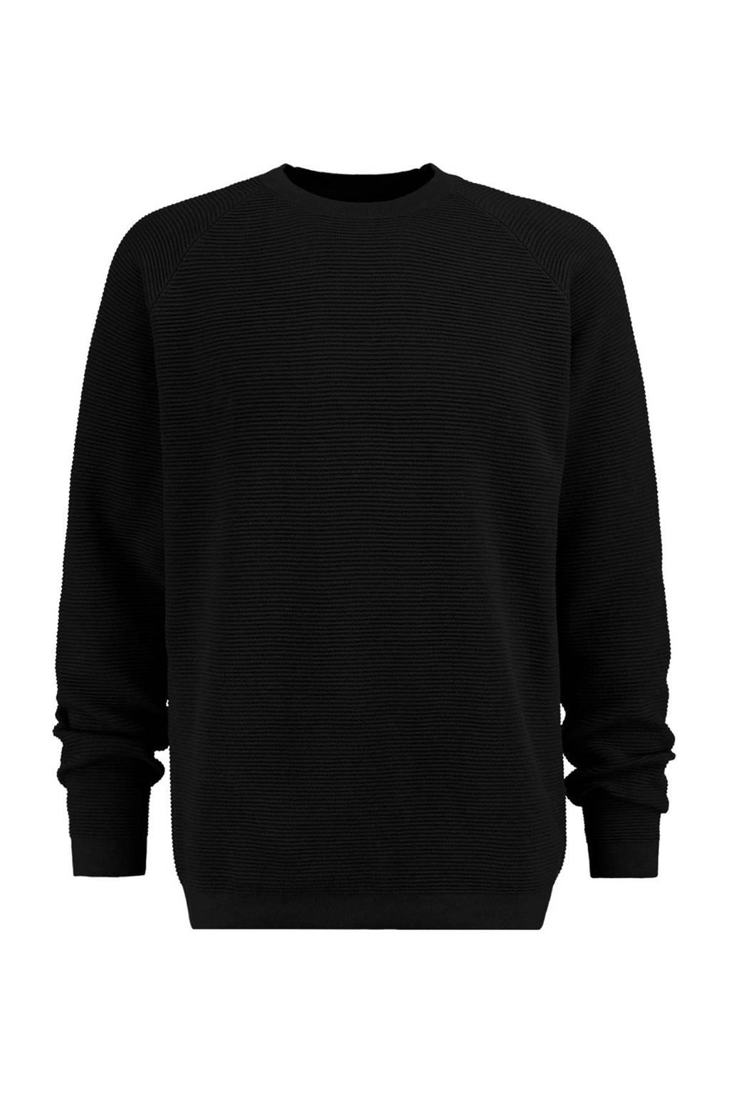 America Today trui Ken met textuur zwart, Zwart