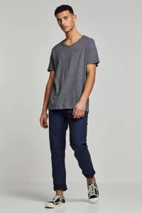 PME Legend gemêleerde slim fit broek donkerblauw, Donkerblauw