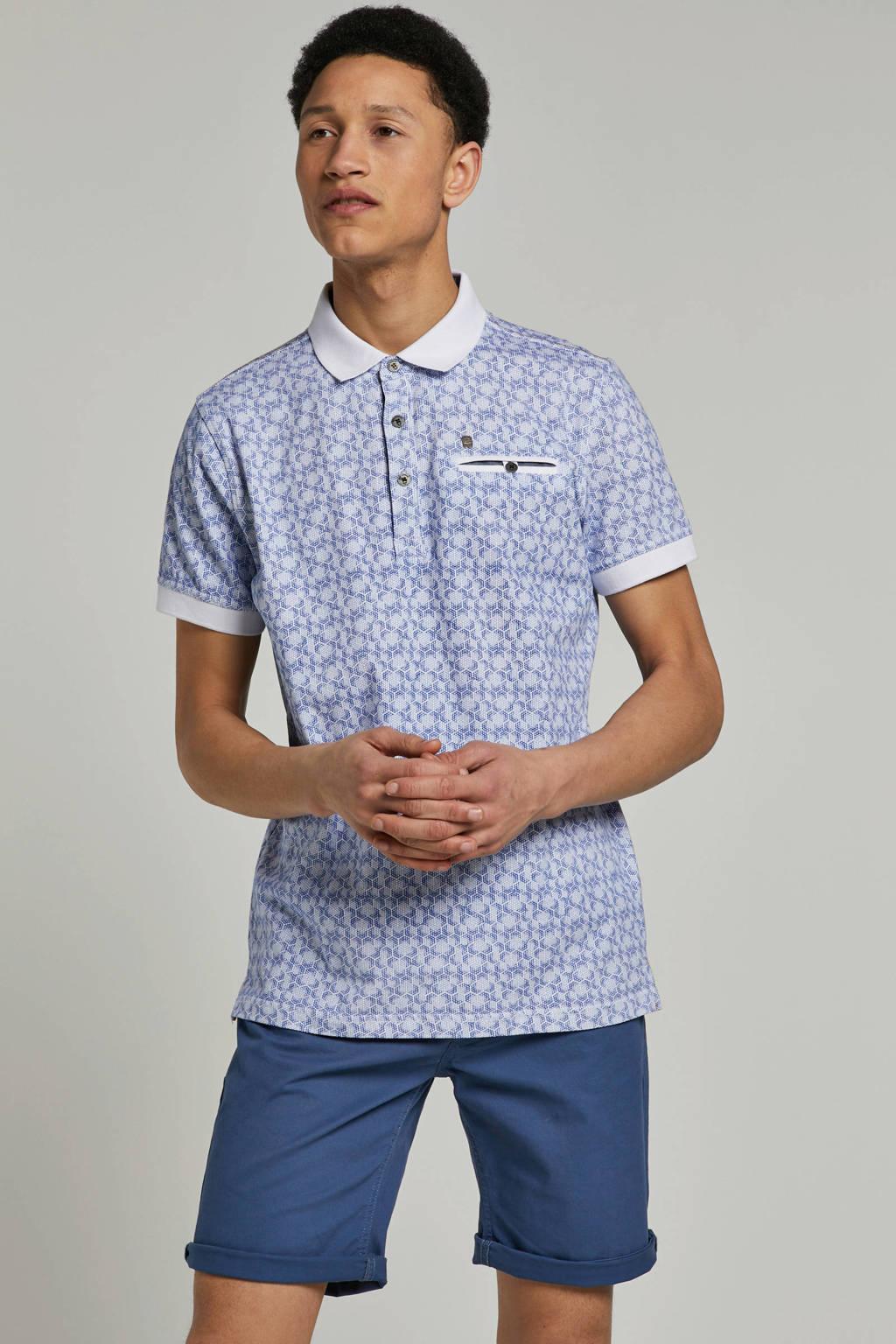 PME Legend T-shirt met allover print, Wit/blauw