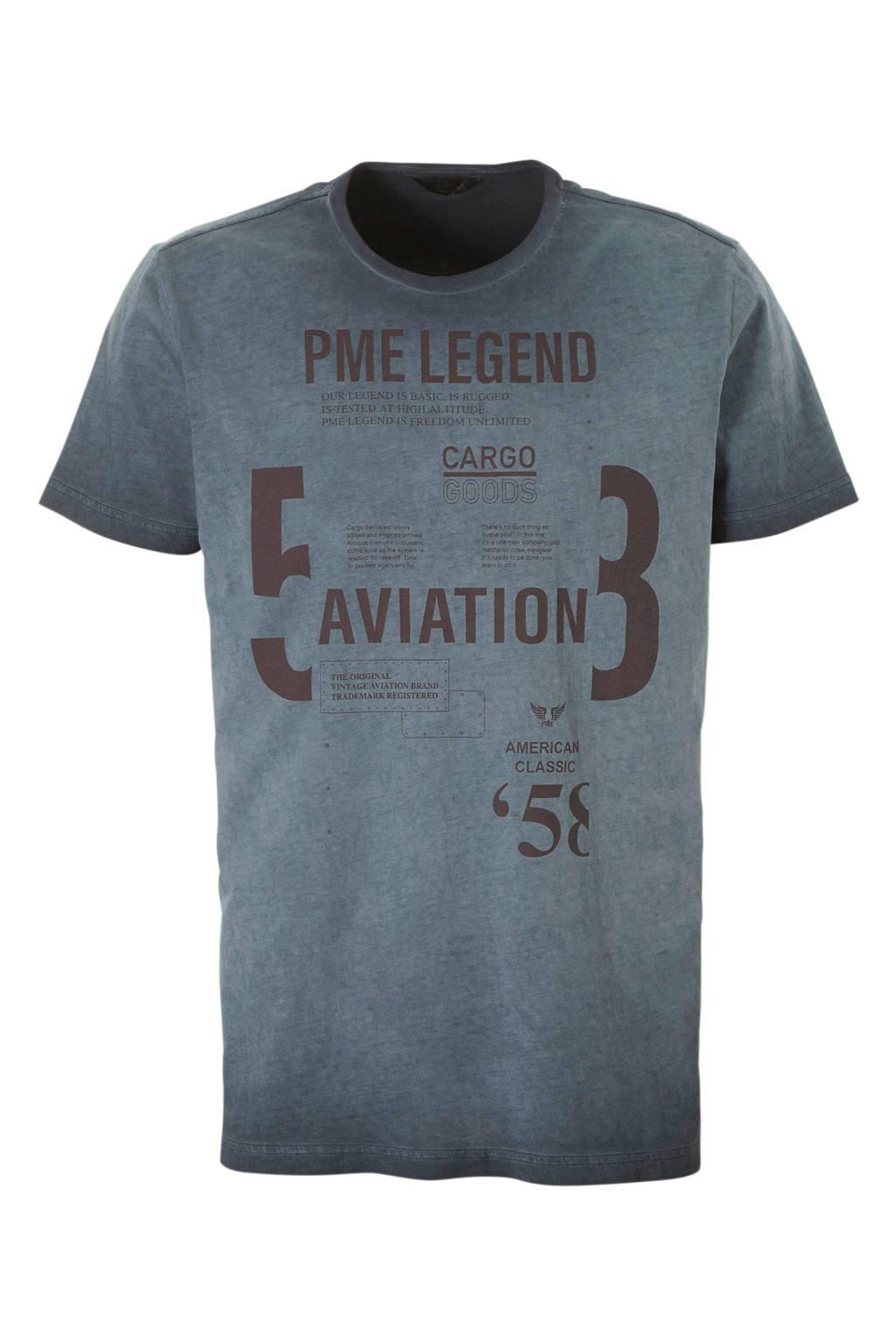 PME Legend T-shirt met print antraciet, Antraciet