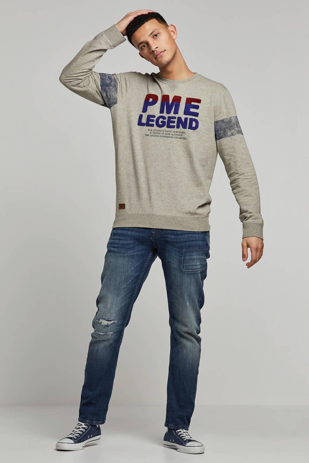PME Legend gemêleerd T-shirt met borduursel grijs, Grijs