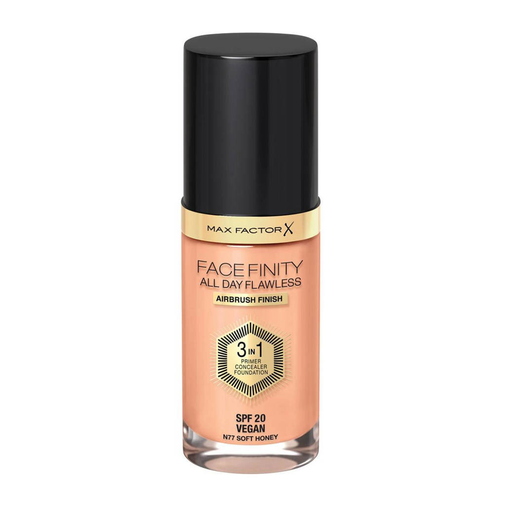 Max Factor Facefinity All Day Flawless 3-in-1 Liquid  77 Soft Honey Foundation