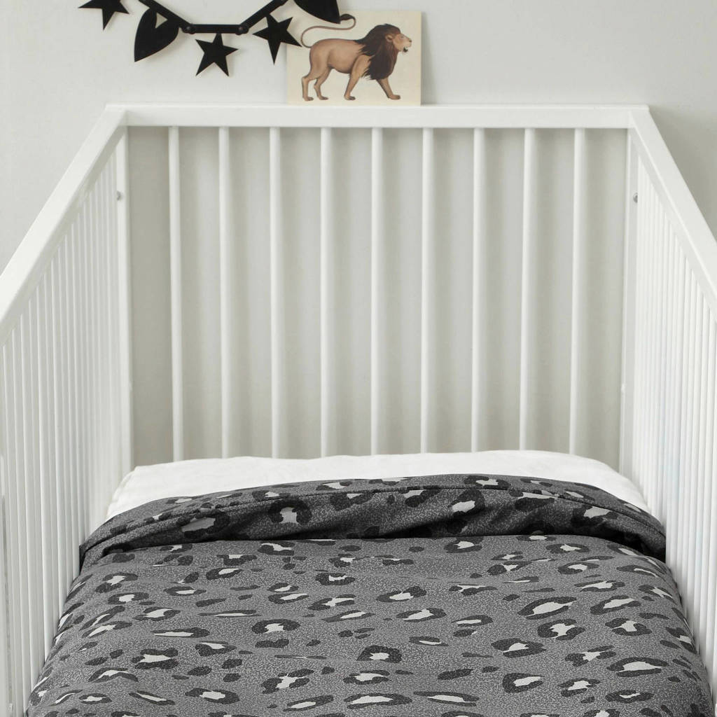 wehkamp home ledikant dekbedovertrek (100x135 cm), Grijs, Baby (100 cm breed)