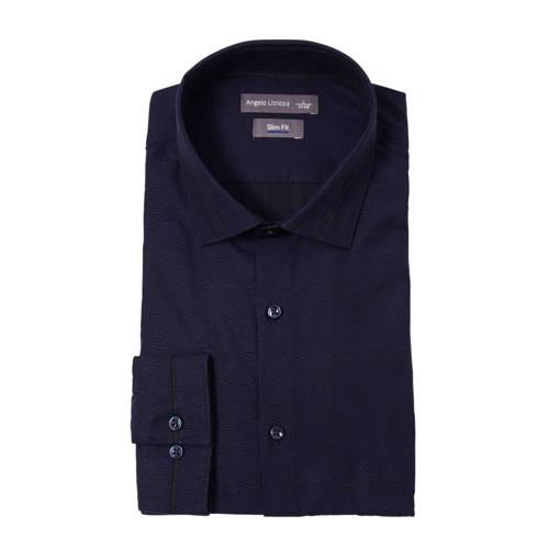 C&A Angelo Litrico slim fit overhemd met print donkerblauw