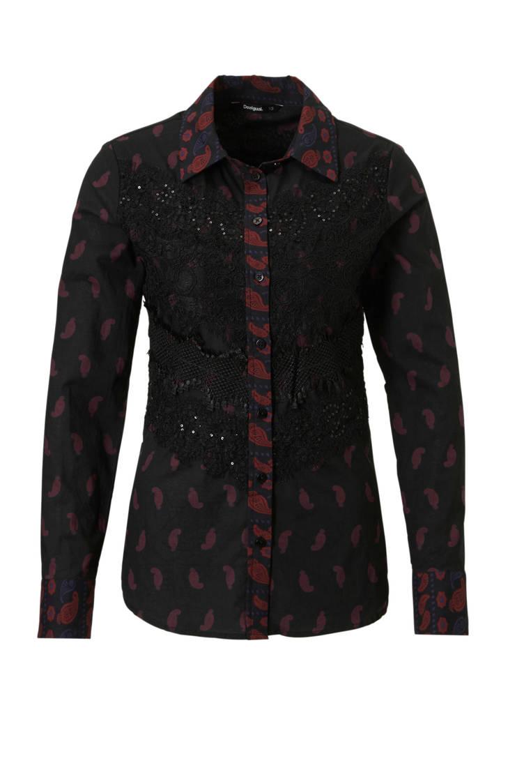 detail blouse zwart Desigual met kanten C6wAqxt7