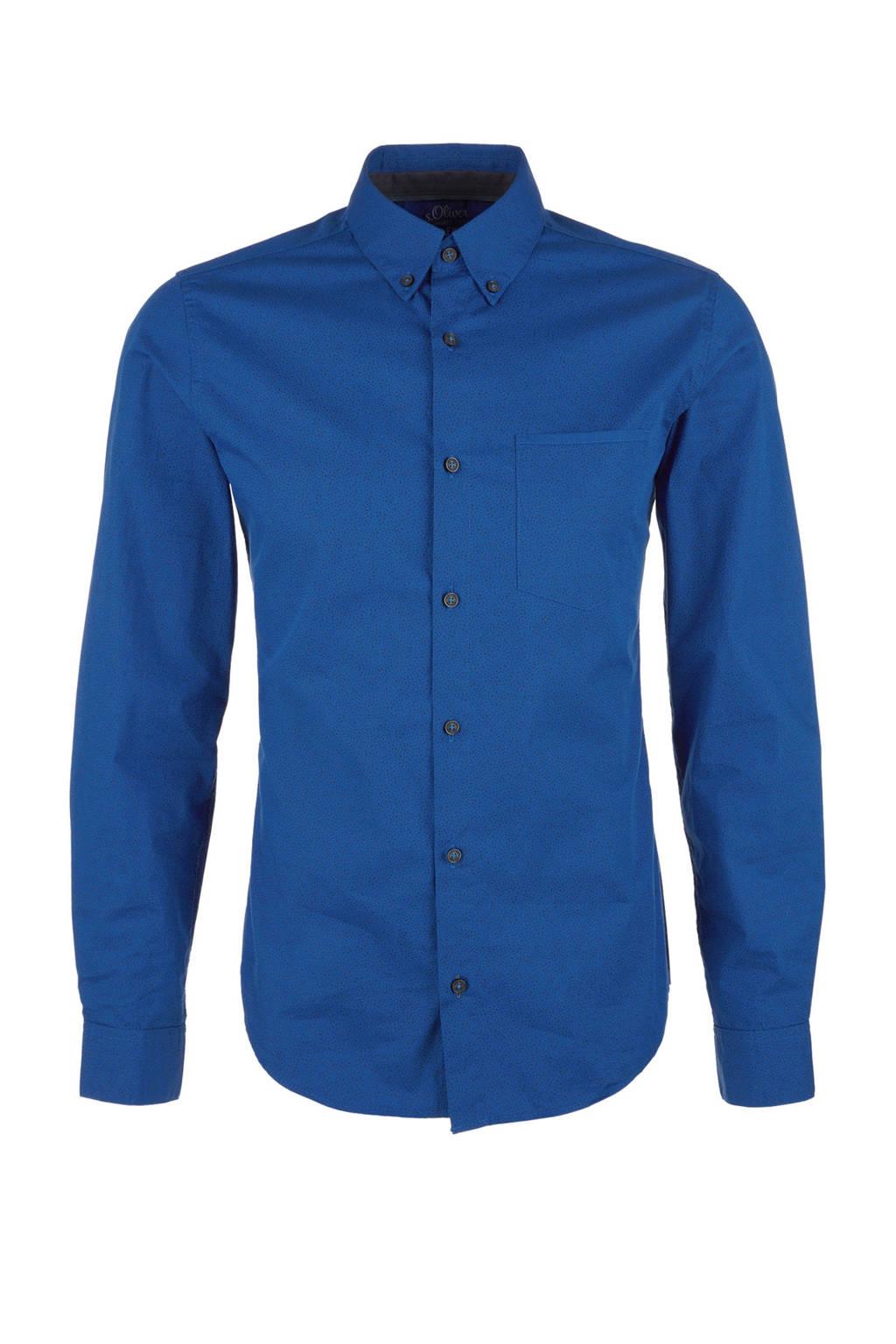 s.Oliver slim fit overhemd met print blauw, Blauw