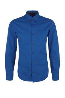 s.Oliver slim fit overhemd met print blauw (heren)