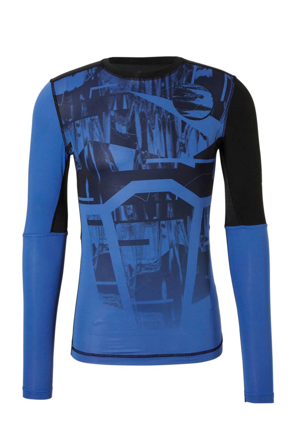 Reebok   sport T-shirt zwart/blauw, Zwart/blauw