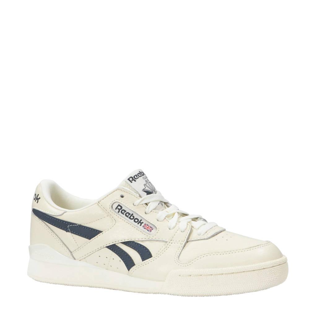 Reebok  leren sneakers wit, Wit/blauw