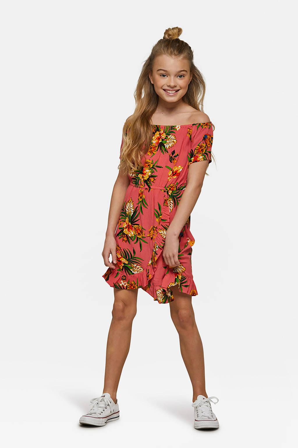WE Fashion gebloemde jurk oranjeroze, Oranjeroze