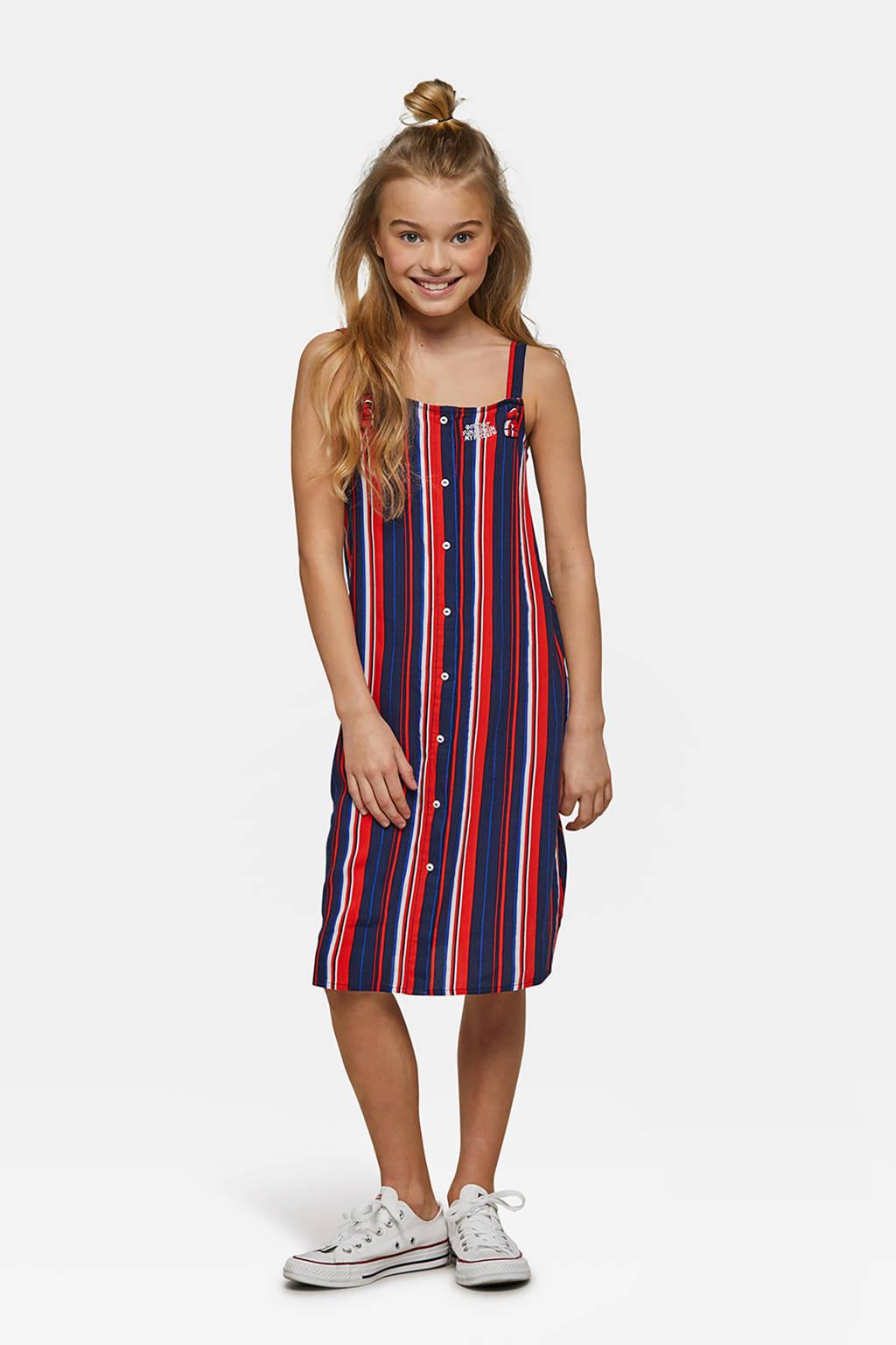 WE Fashion gestreepte jurk blauw/rood/wit, Blauw/rood/wit