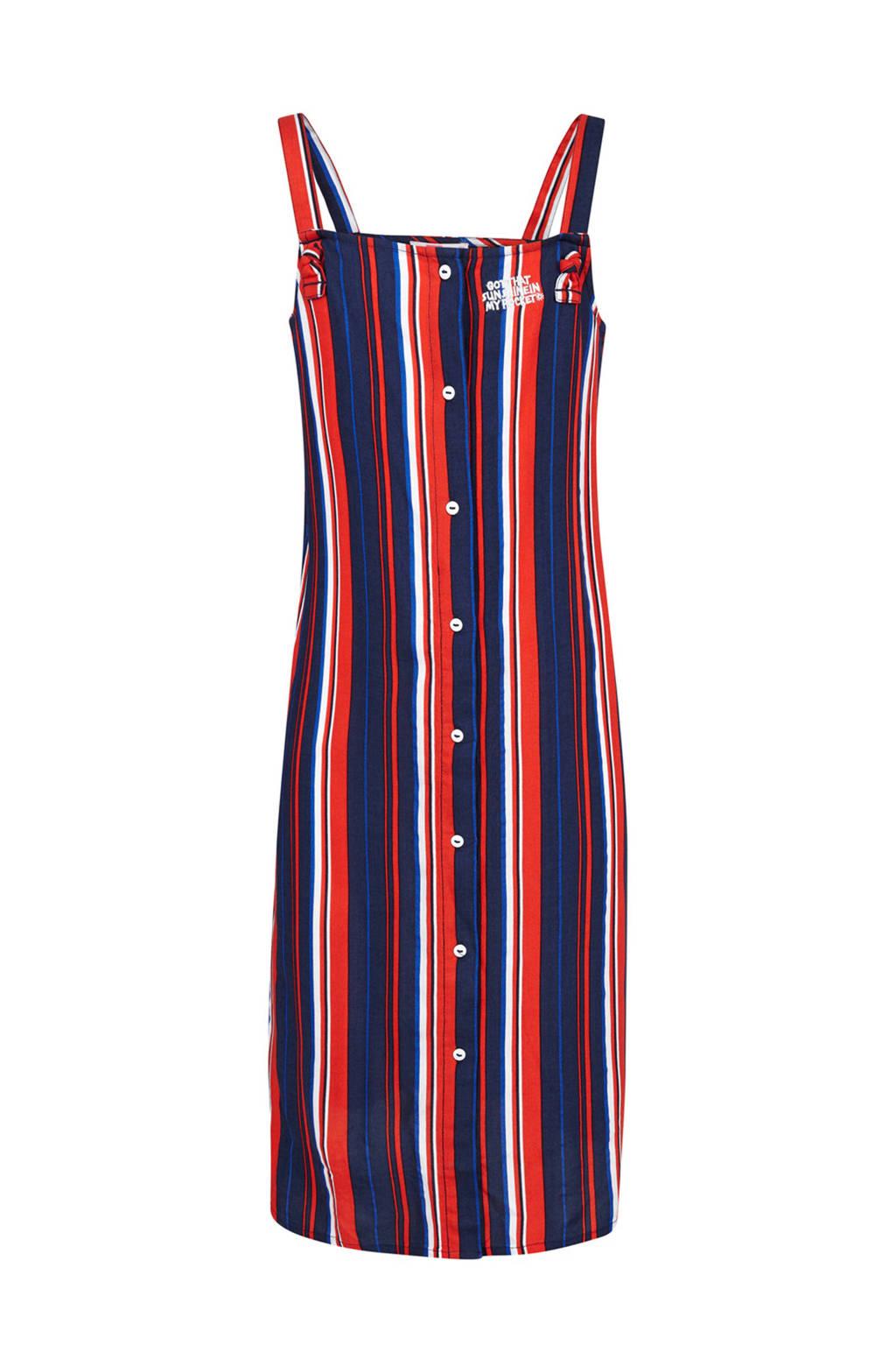 WE Fashion gestreepte jurk blauw, Blauw/rood/wit