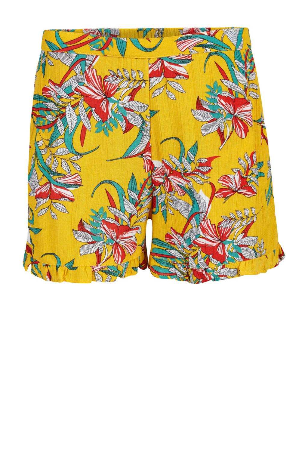 WE Fashion gebloemde loose fit short geel, Geel