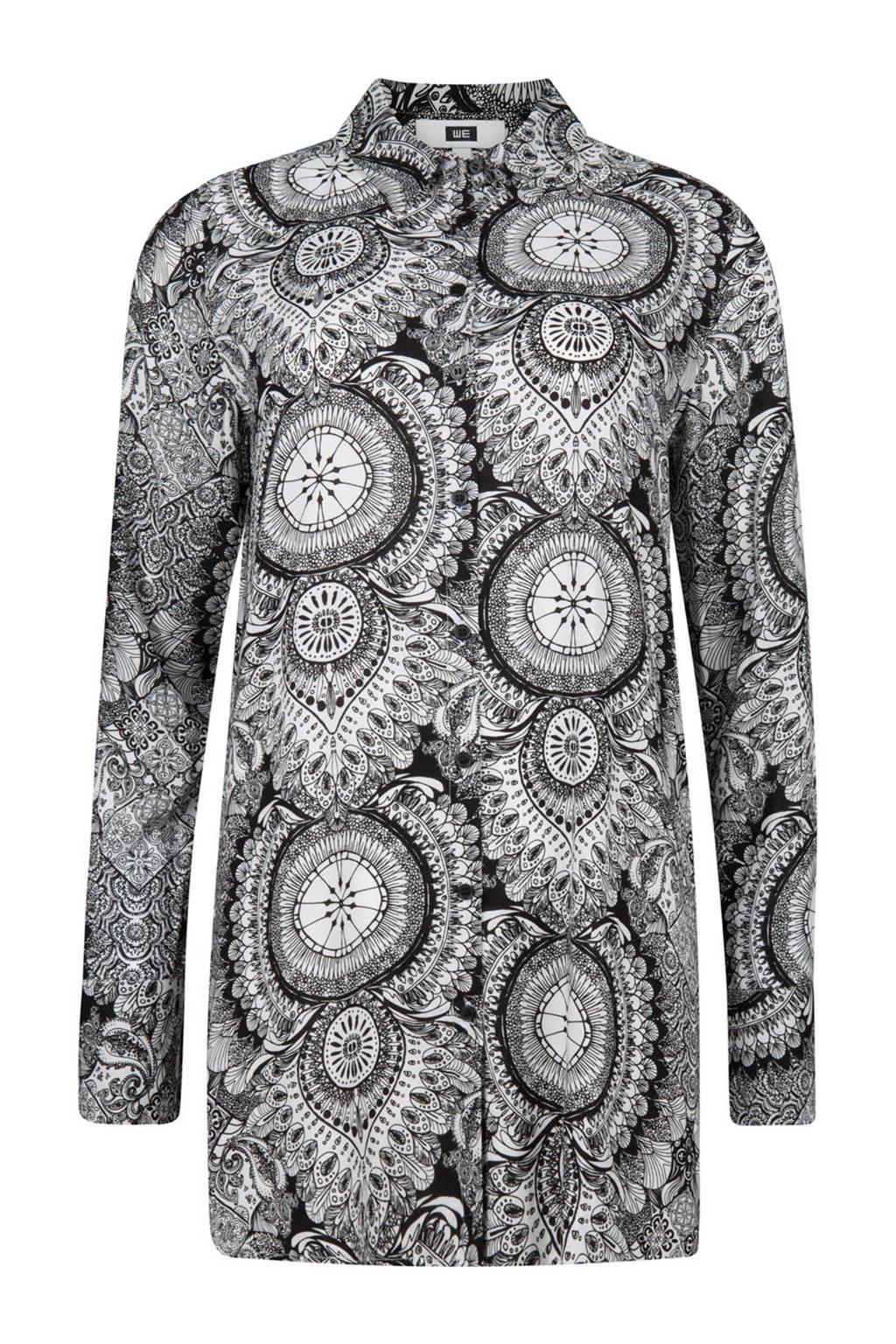 WE Fashion blouse met all over print zwart/wit, Zwart/wit