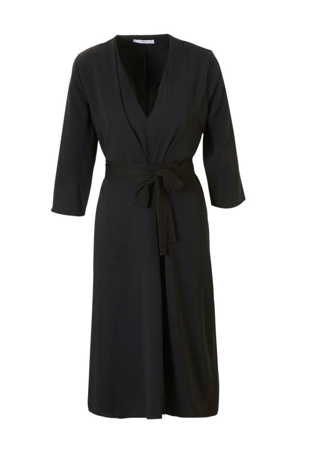 Mango jurk met strik ceintuur zwart, Zwart