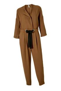 Mango jumpsuit met aansnoerkoord donkerbruin (dames)