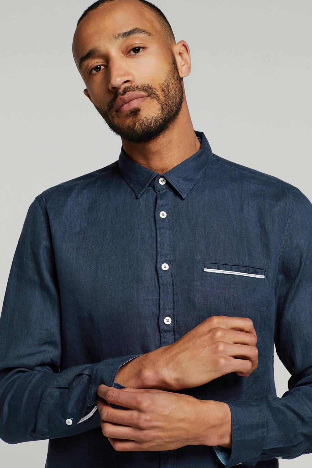Marc O'Polo linnen slim fit overhemd, Donkerblauw
