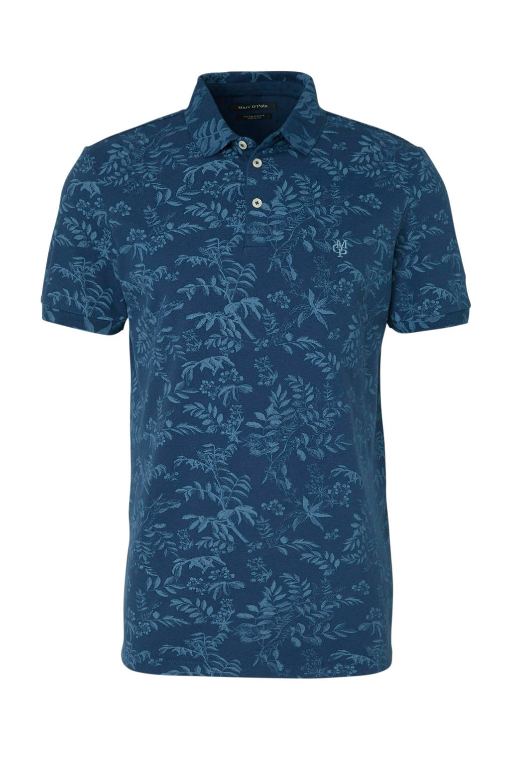 Marc O'Polo slim fit polo met all over print, Donkerblauw