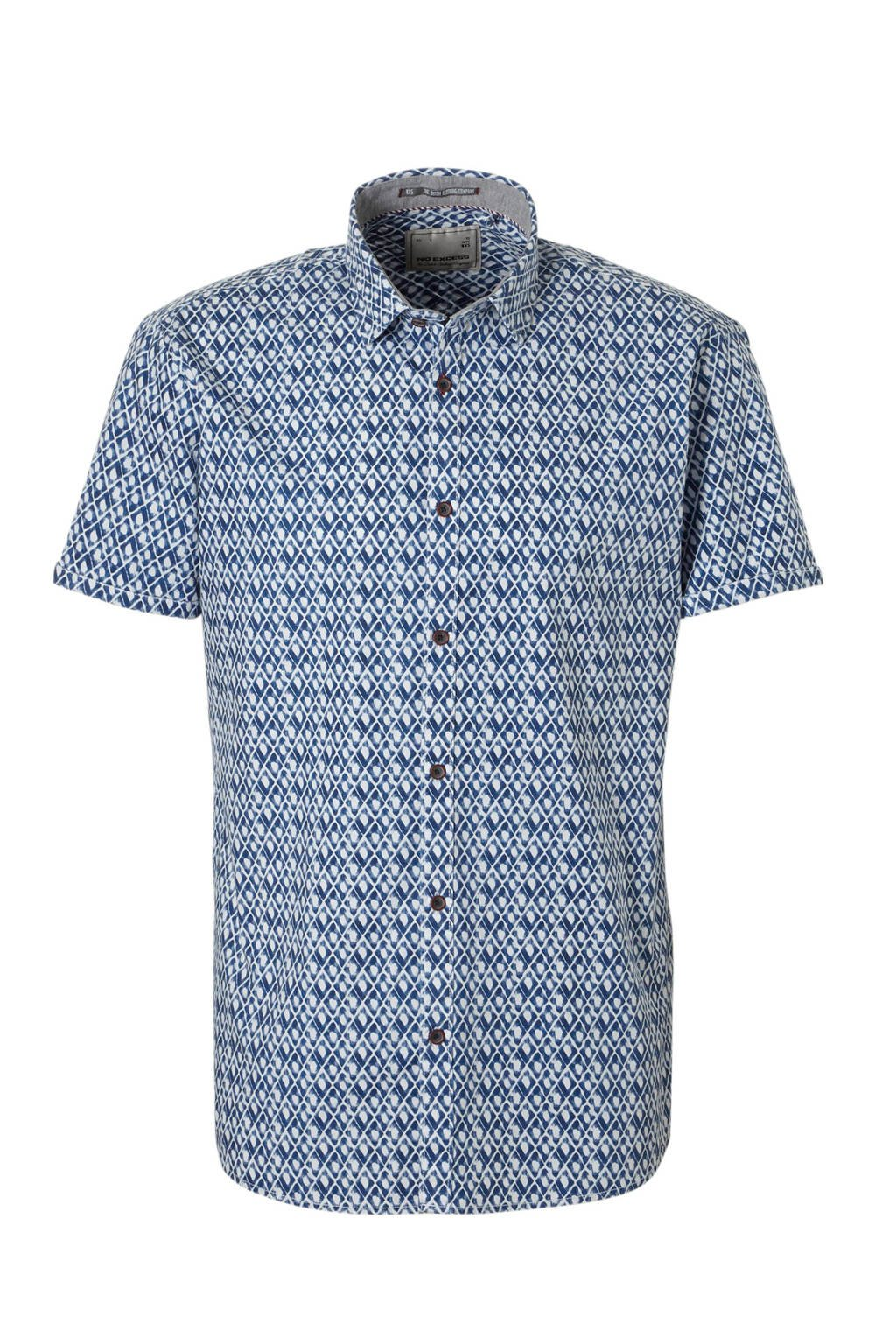 No Excess overhemd allover print, blauw/ wit