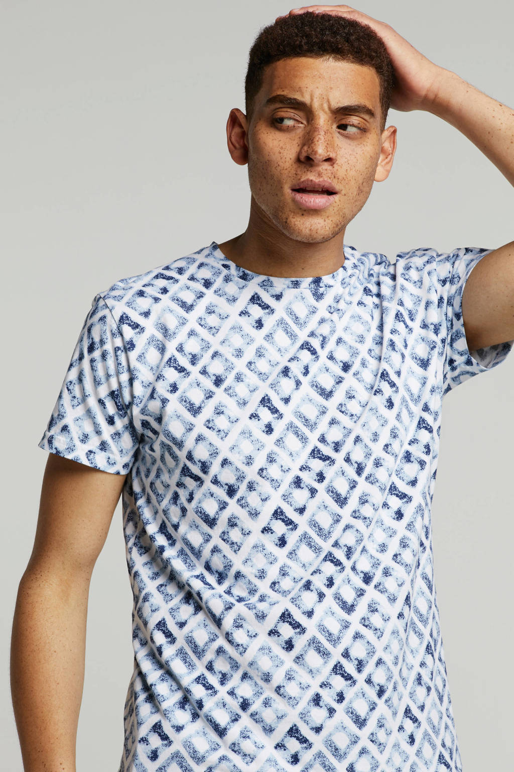 No Excess T-shirt met all over print, Wit/blauw