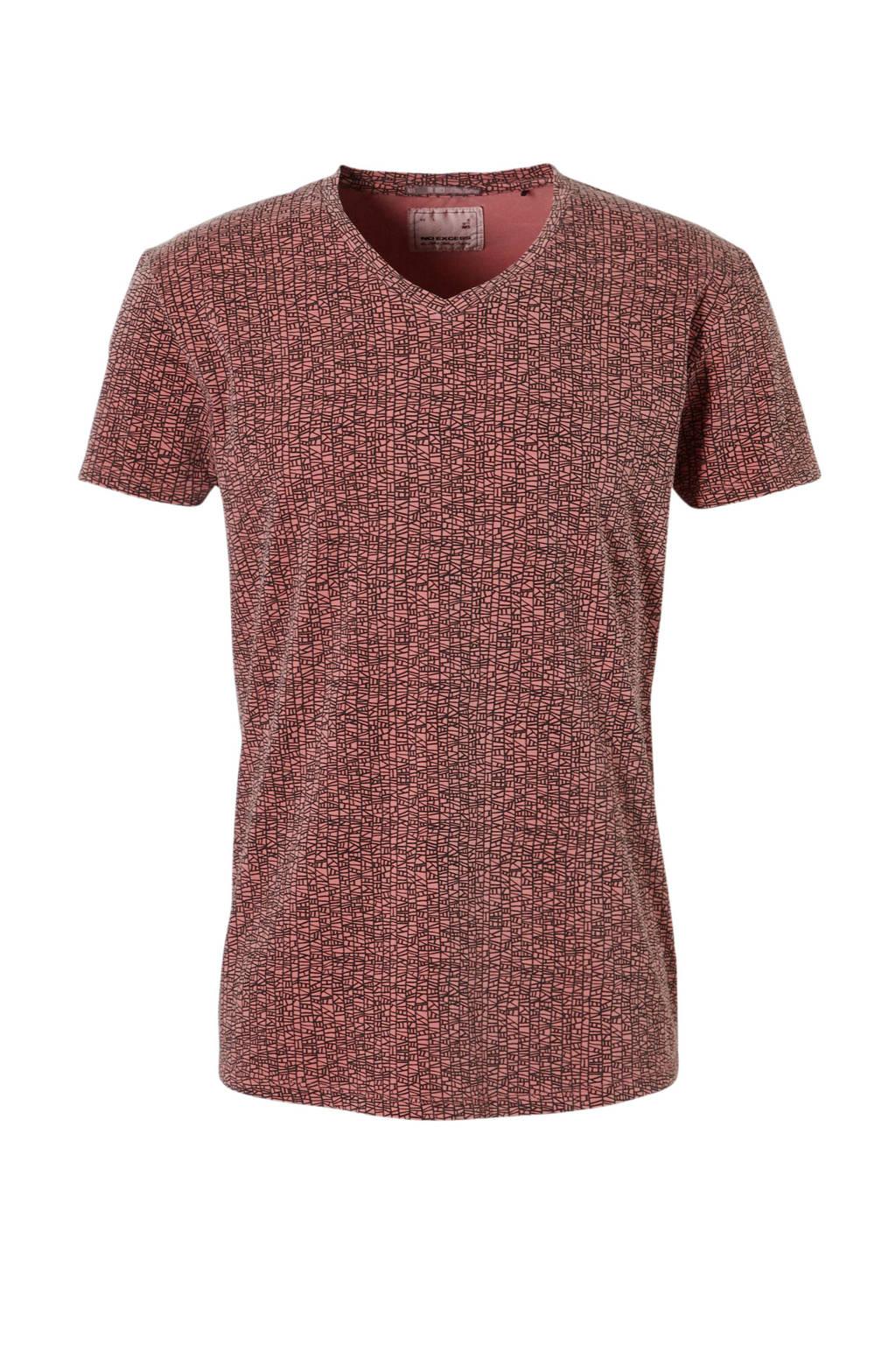 No Excess T-shirt met allover print oudroze, Oudroze/ zwart
