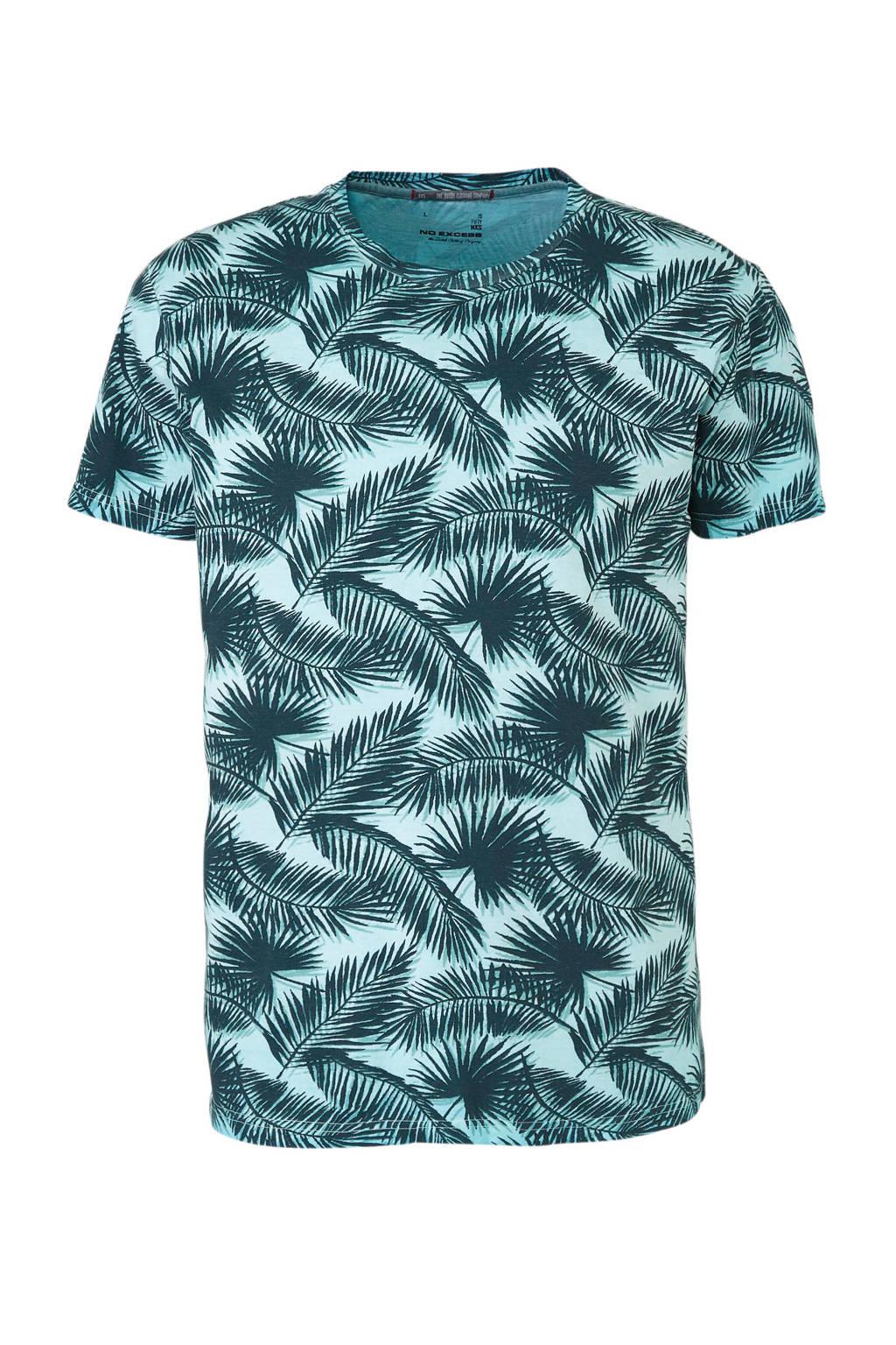 No Excess T-shirt met allover print, licht groen/donkergroen