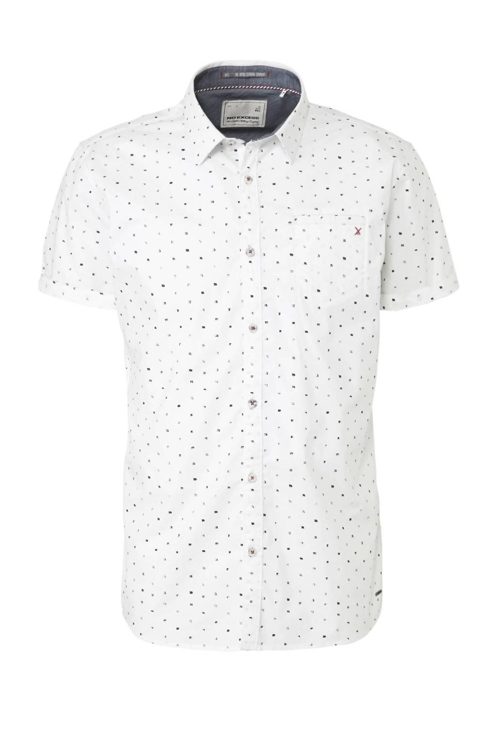 No Excess overhemd met alloverprint wit, Wit/ grijs/ zwart