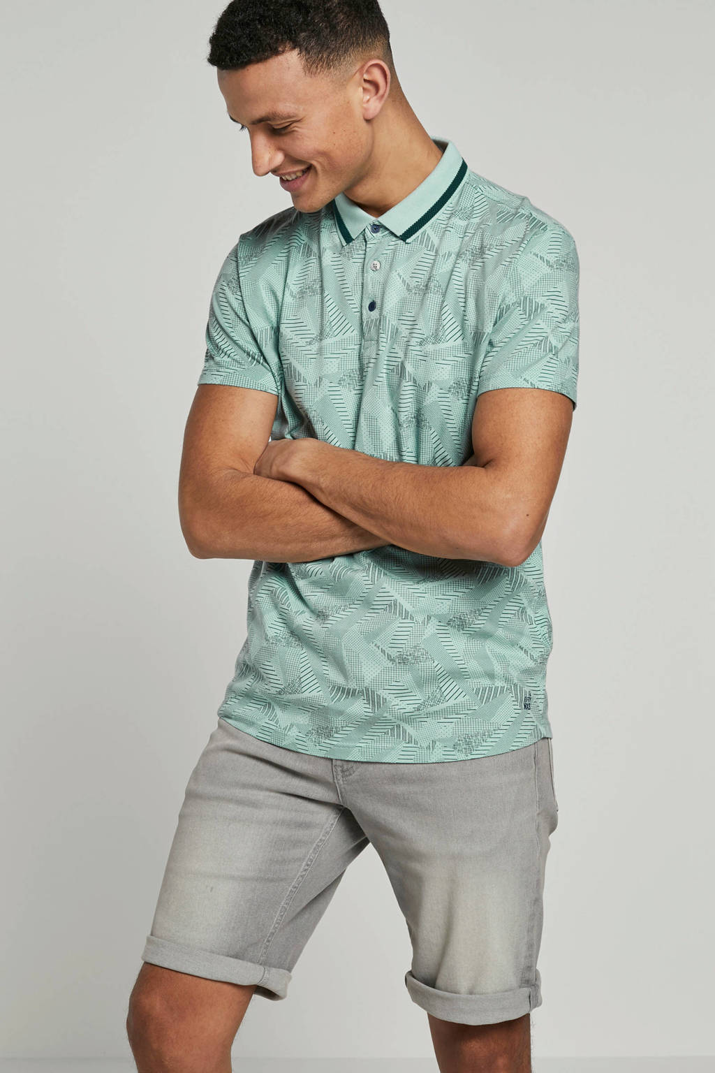 No Excess polo met allover print, Mintgroen