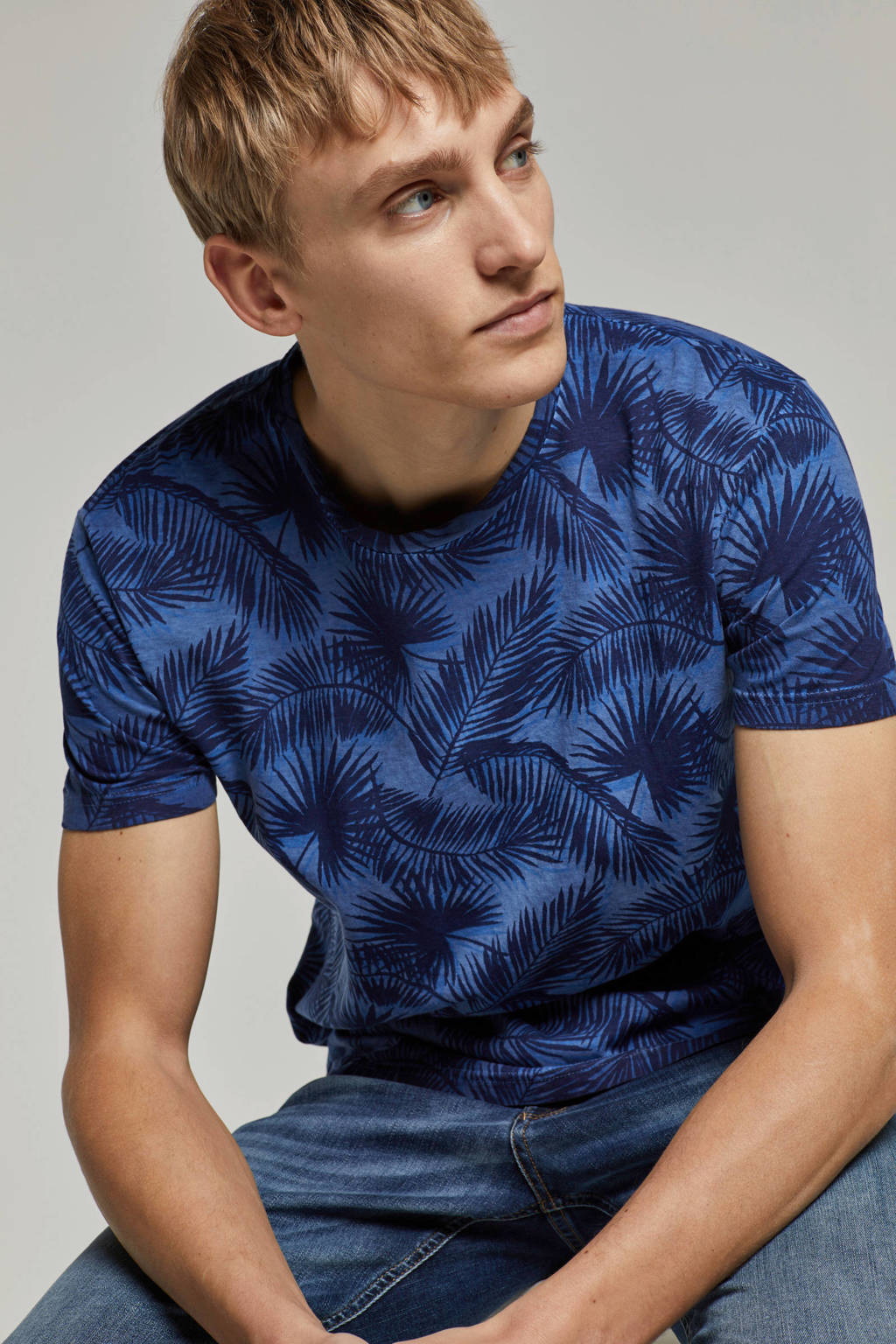 No Excess T-shirt met allover print, Blauw
