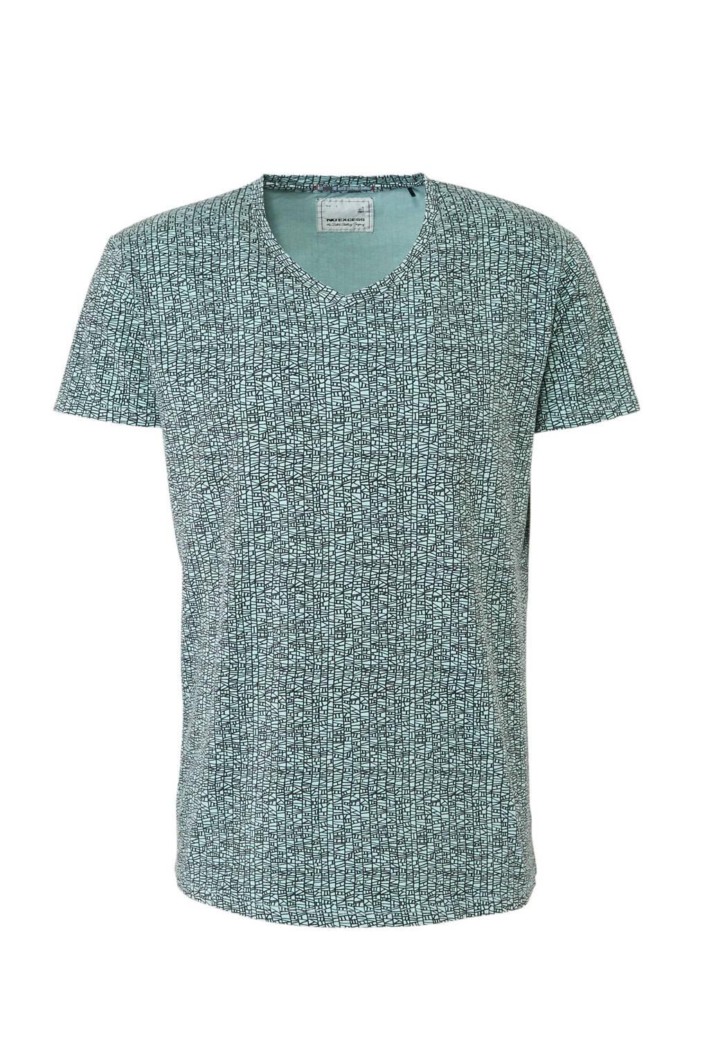 No Excess T-shirt met allover print mintgroen, Mintgroen/ zwart
