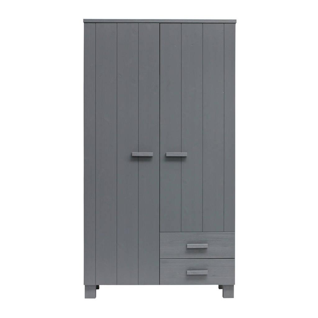 Woood 2-deurs kledingkast Dennis met laden, Steel grey