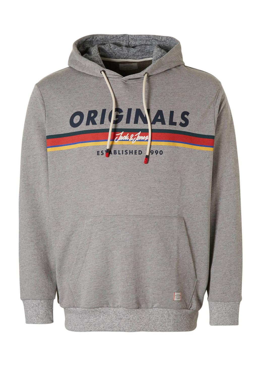 Jack & Jones Plus Size gemêleerde hoodie Tucu grijs, Grijs