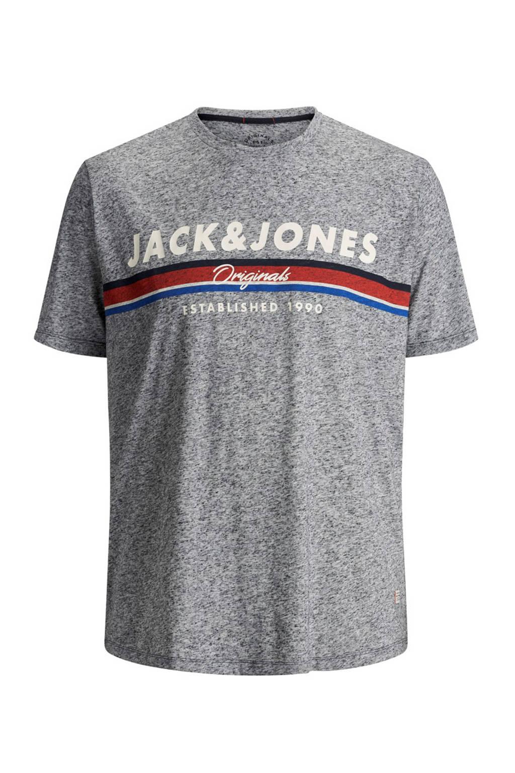 Jack & Jones Plus Size gemêleerd T-shirt Tuco grijs, Grijs