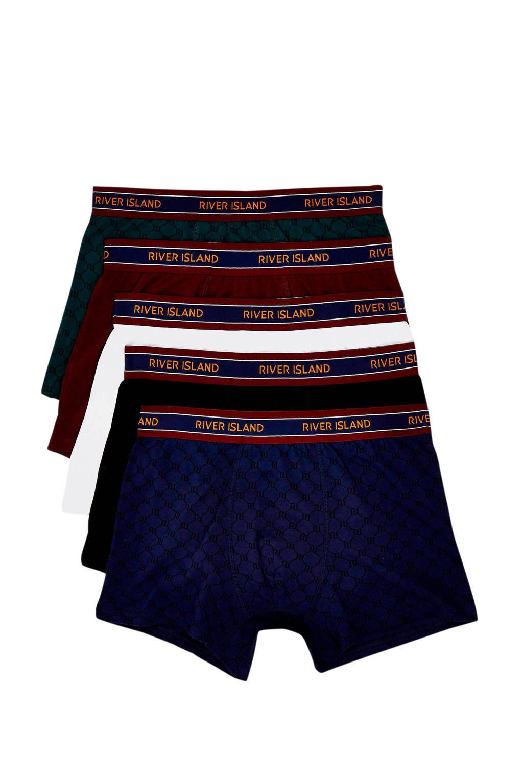 River Island boxershort (set van 5), Donkerblauw/wit/zwart