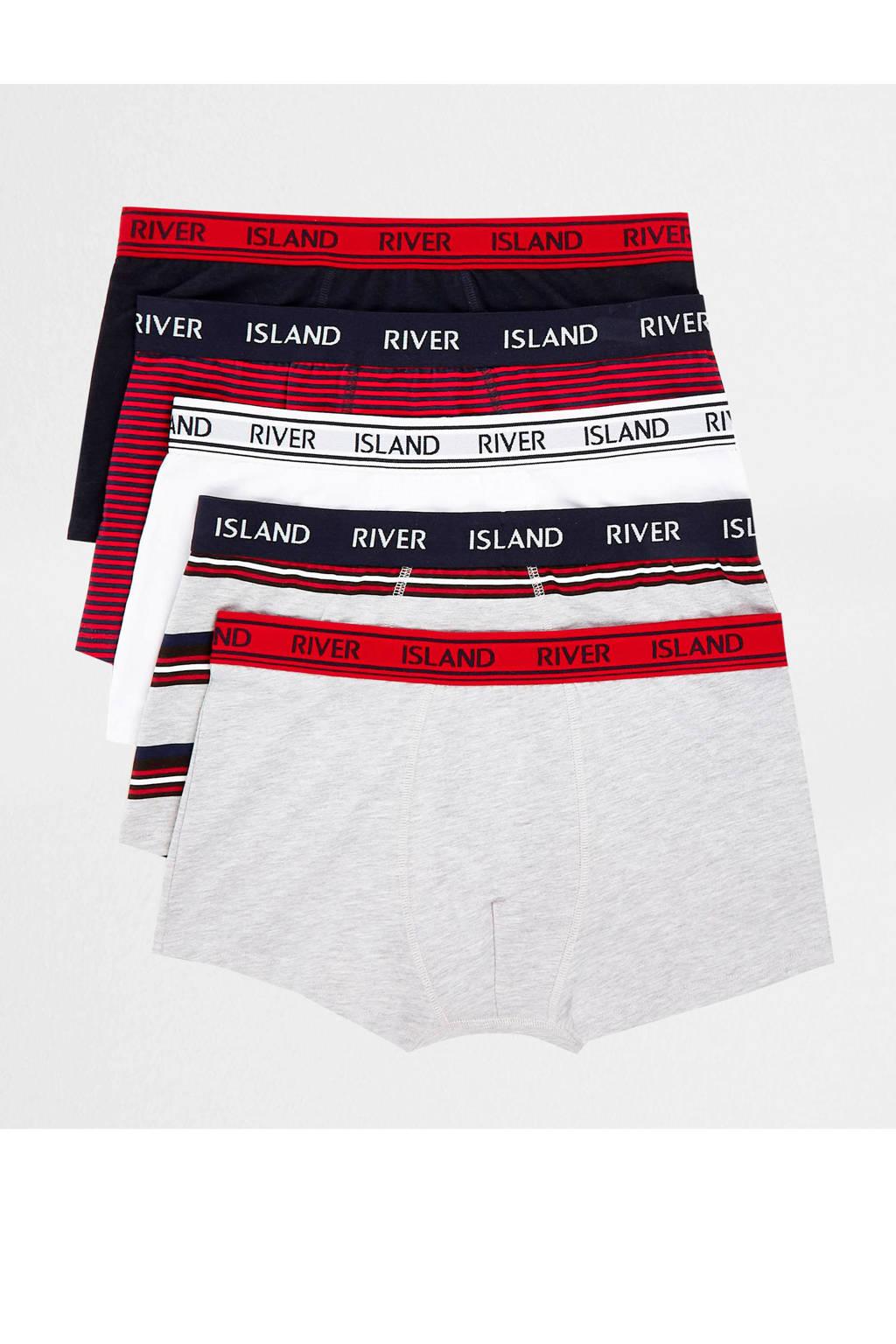 River Island boxershort (set van 5), Grijs/wit/rood/marine