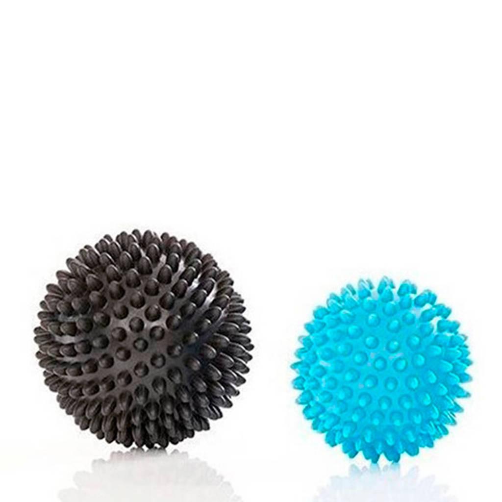 Gymstick Active gestekelde massage bal set 2 stuks, Blauw/zwart