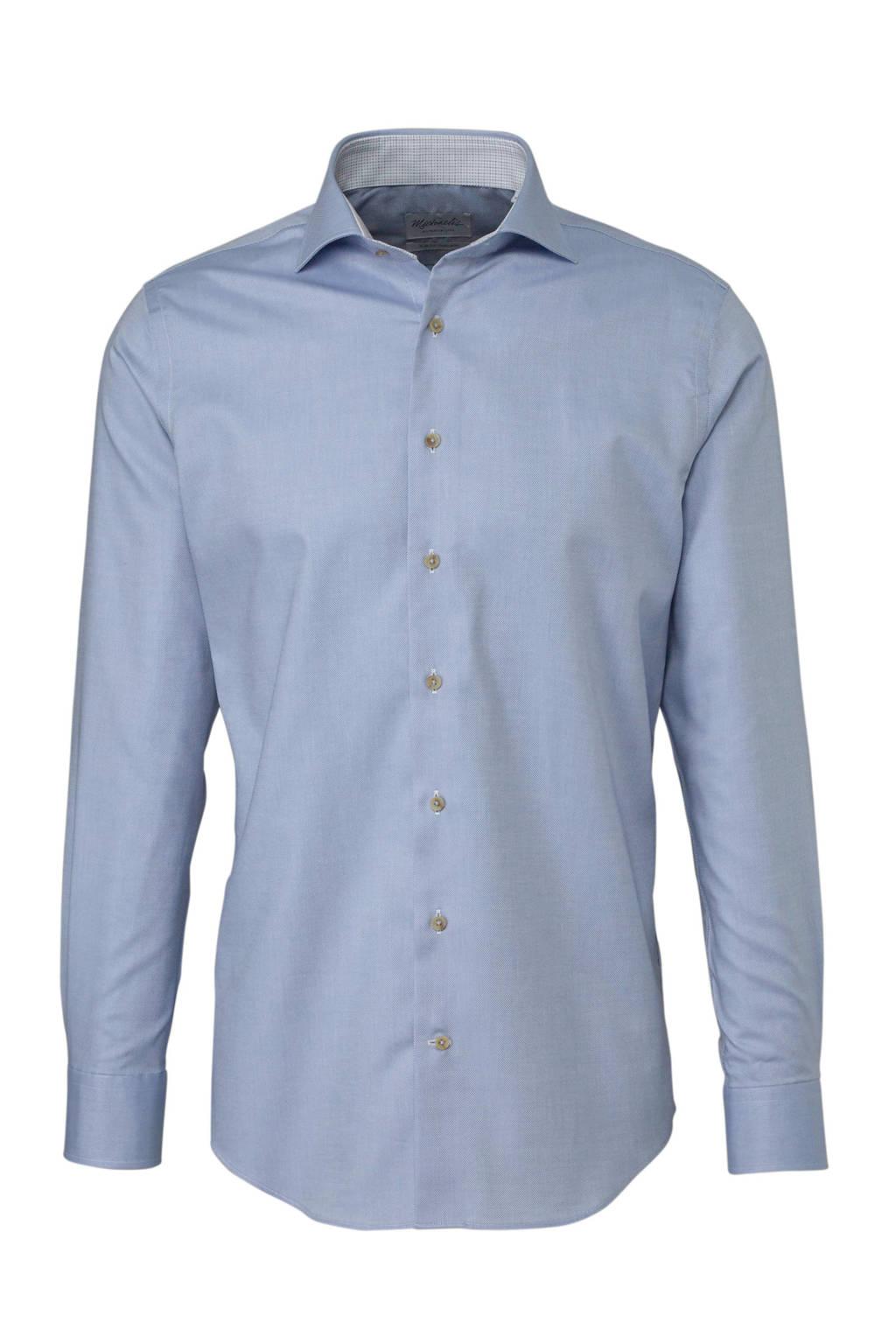 Michaelis slim fit overhemd, Blauw/wit