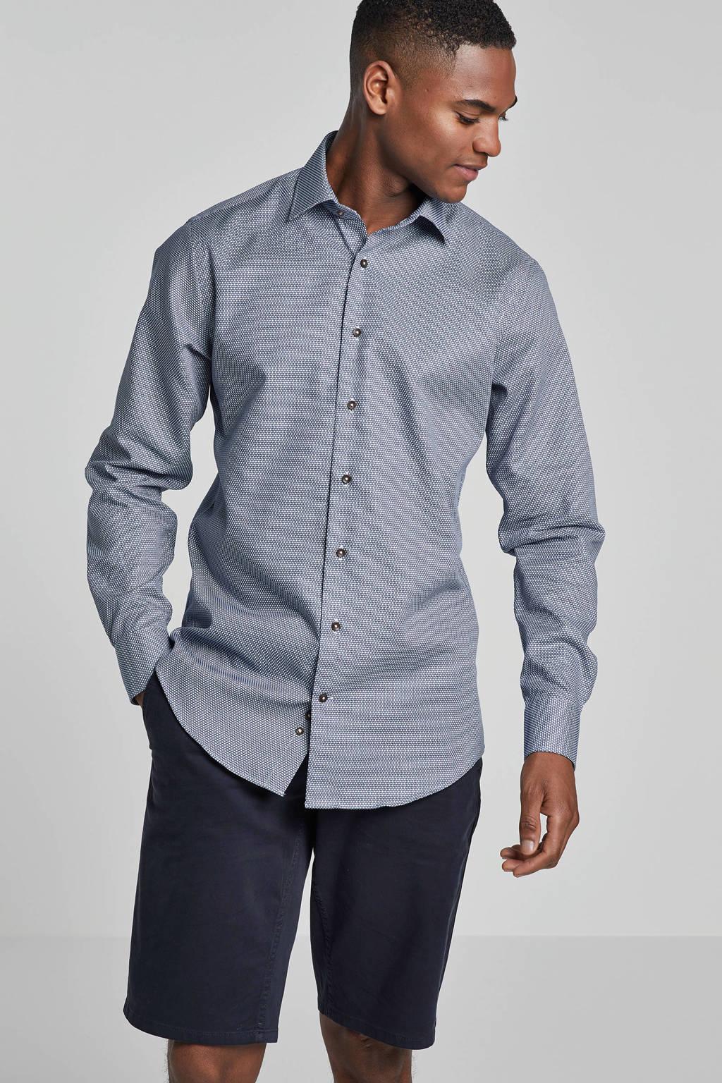 Michaelis slim fit overhemd met print blauw, Blauw/wit