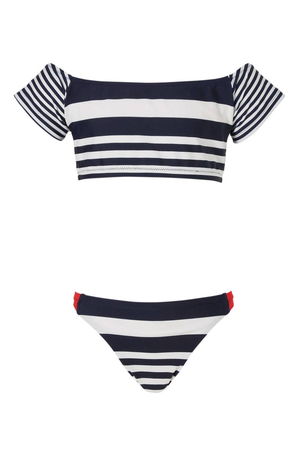 whkmp's beachwave bikini met strepen marine, Marine/wit/rood