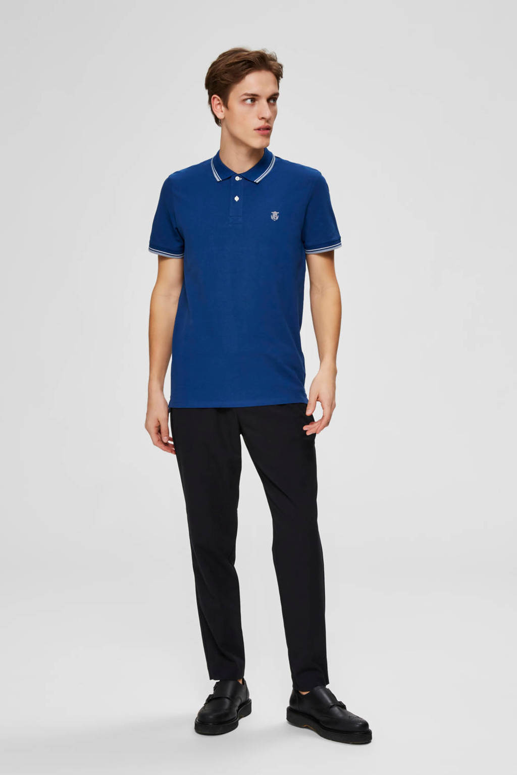 SELECTED HOMME regular fit polo, Donkerblauw