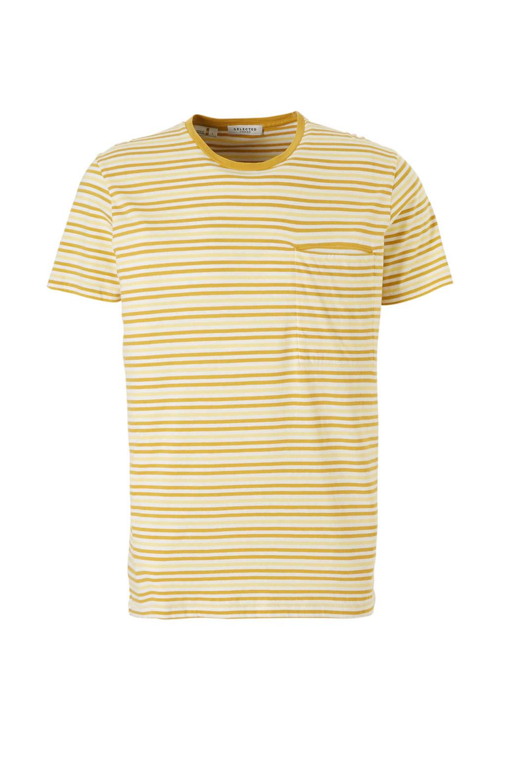 SELECTED HOMME T-shirt, Geel/wit