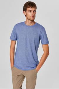SELECTED HOMME gemêleerd T-shirt, blauw/ wit
