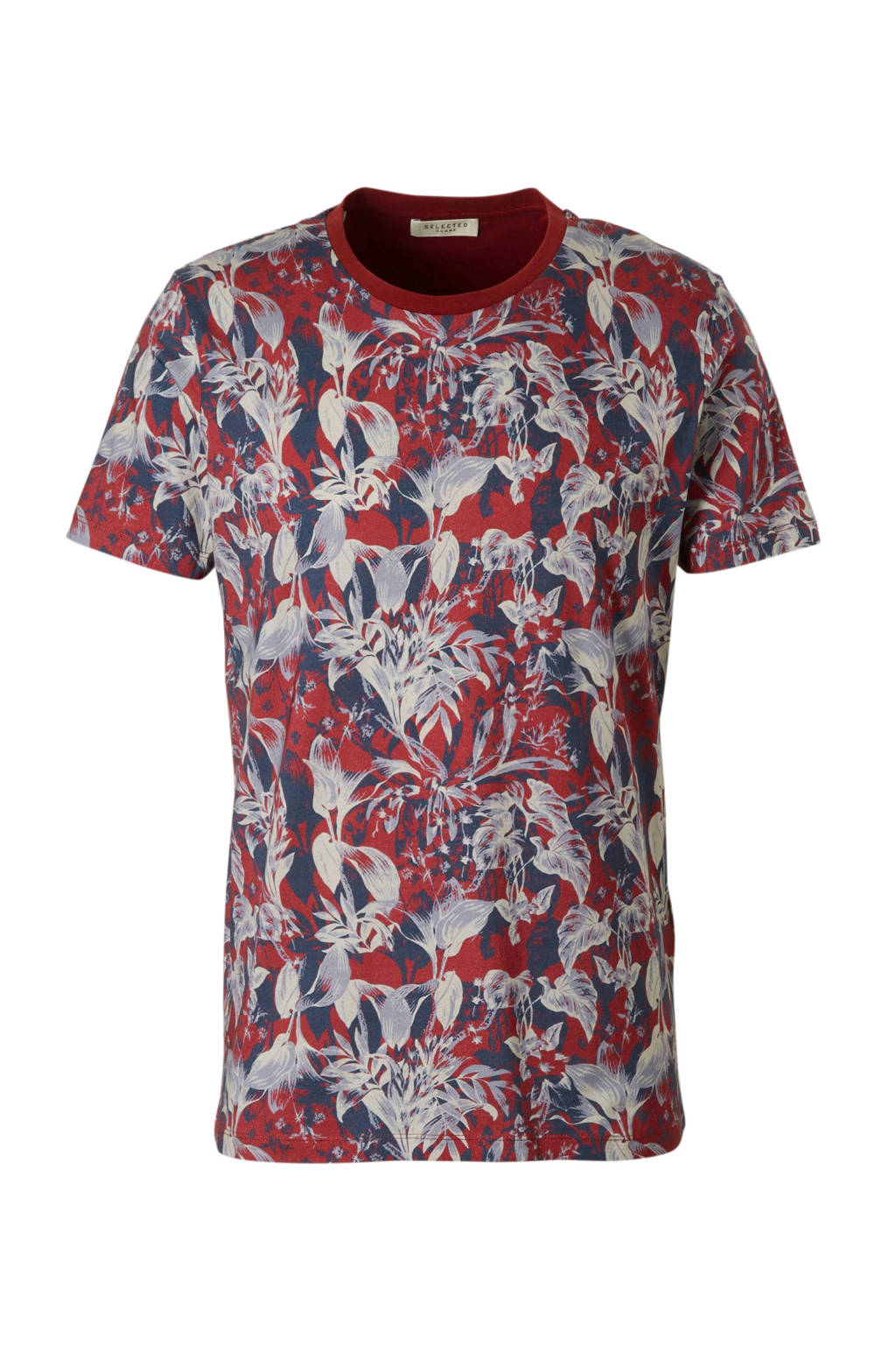 SELECTED HOMME T-shirt met allover print, Rood/blauw