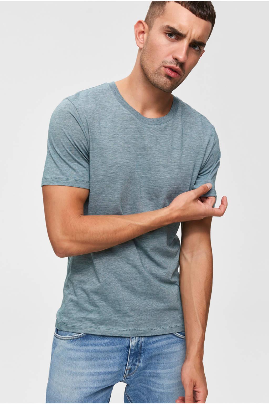 SELECTED HOMME gemêleerd T-shirt, Grijsgroen