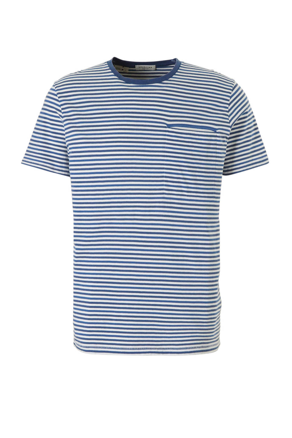 SELECTED HOMME T-shirt, Blauw/wit