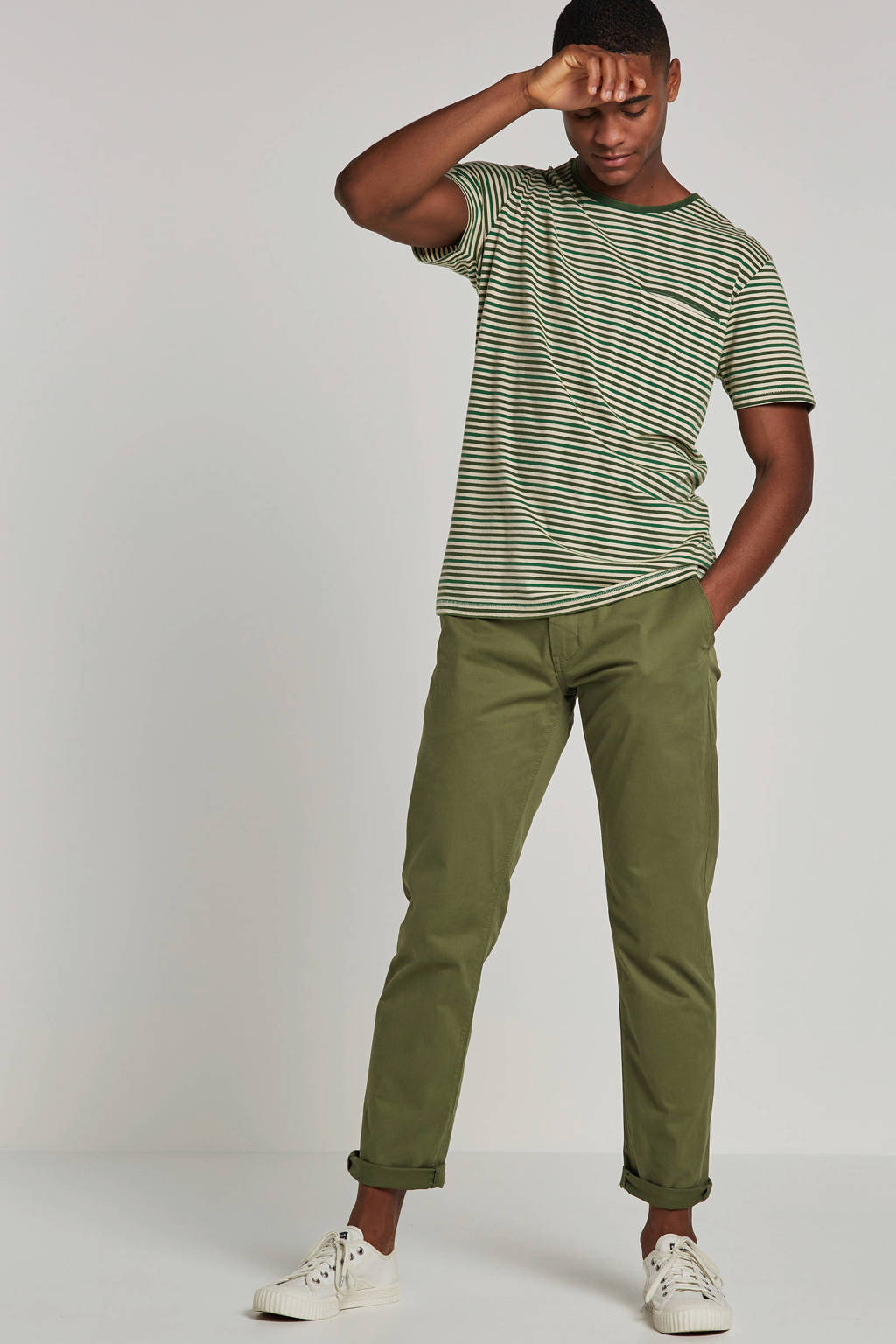 SELECTED HOMME T-shirt, Groen/wit