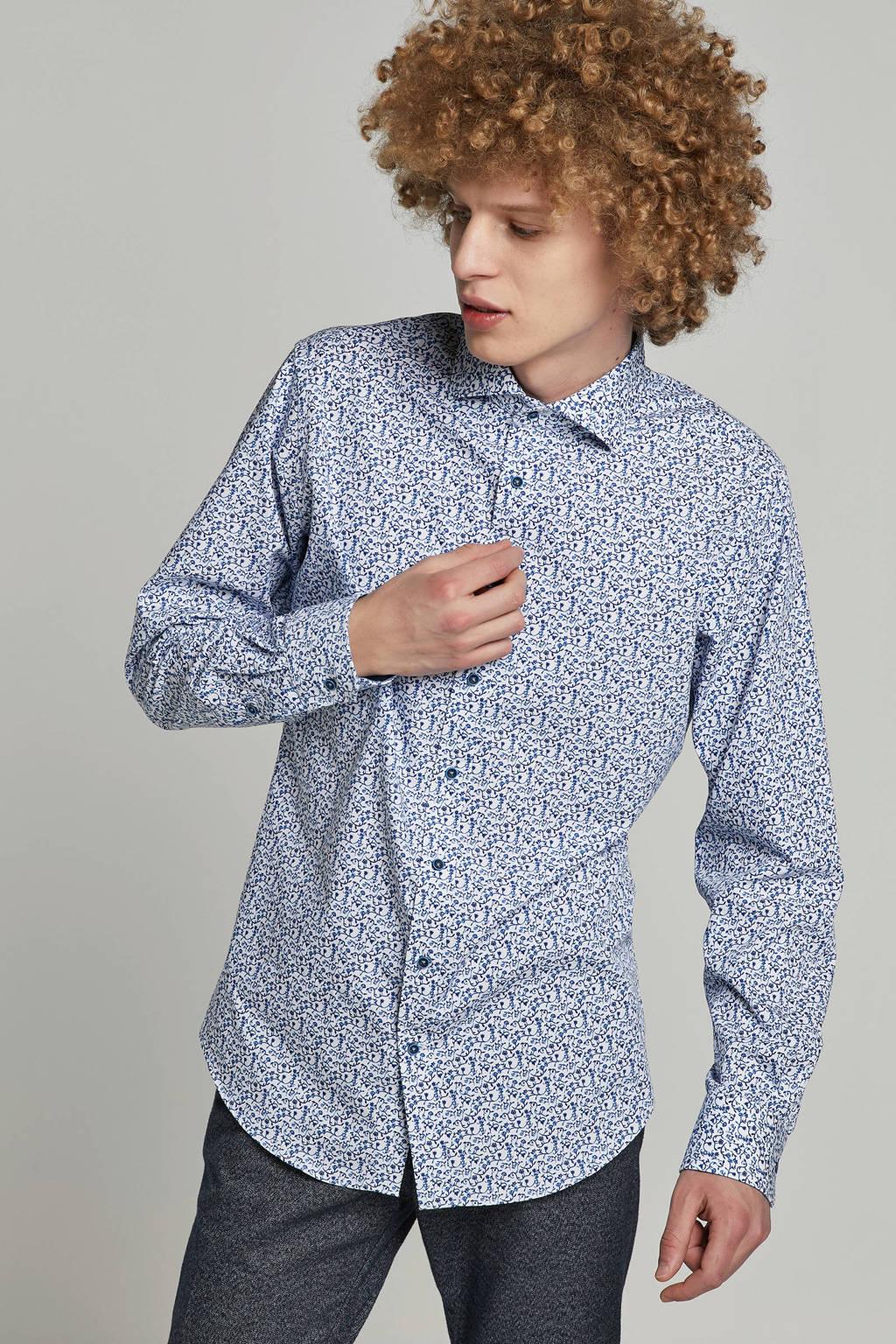 Michaelis slim fit overhemd, Wit/blauw