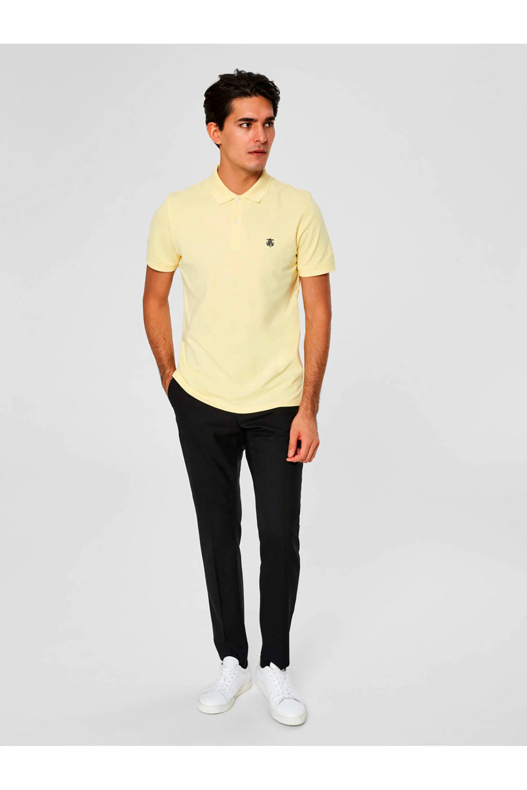 SELECTED HOMME slimfit polo licht geel, Lichtgeel