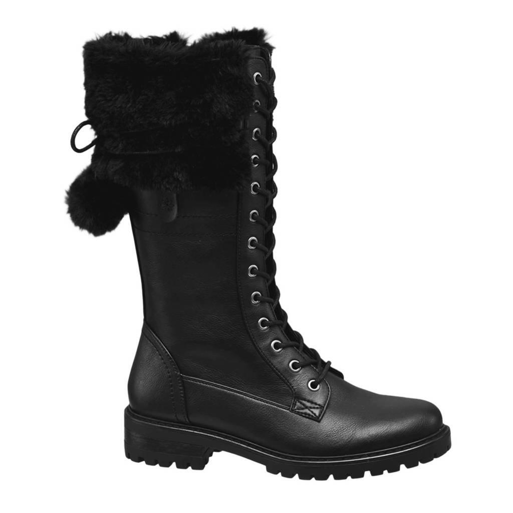vanHaren Landrover laarzen met pompons zwart, Zwart